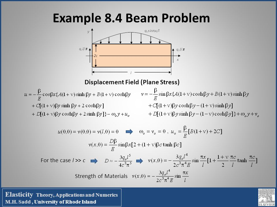 Example 8.4 Beam Problem Displacement Field (Plane Stress)
