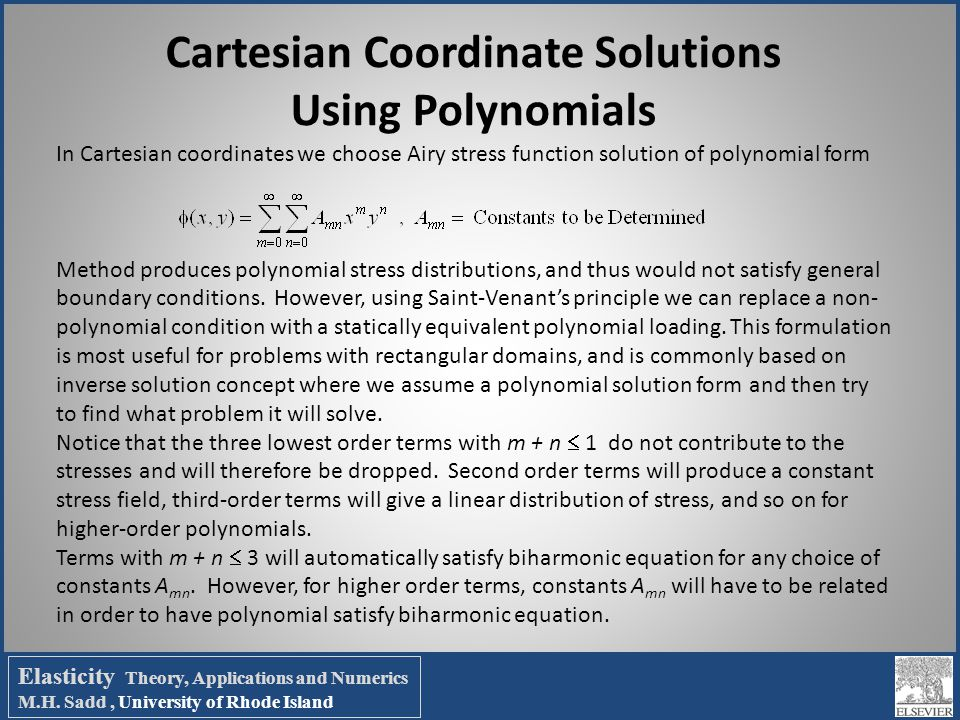 Cartesian Coordinate Solutions Using Polynomials