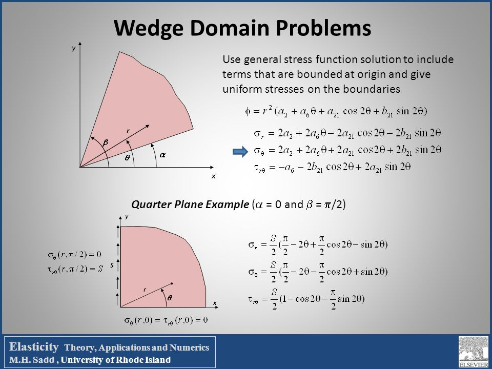 Wedge Domain Problems Use general stress function solution to include terms that are bounded at origin and give uniform stresses on the boundaries.