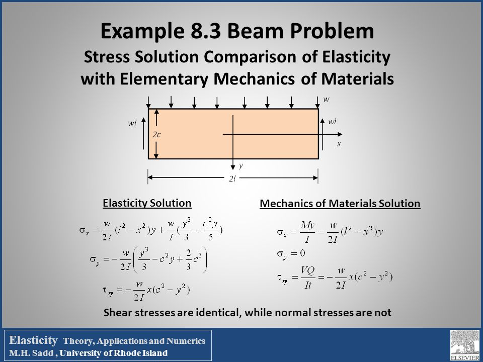 Example 8.3 Beam Problem Stress Solution Comparison of Elasticity with Elementary Mechanics of Materials