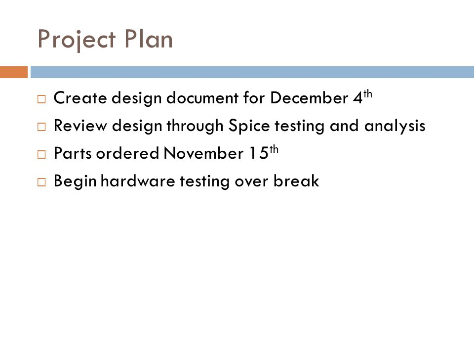 Project Plan Create design document for December 4th