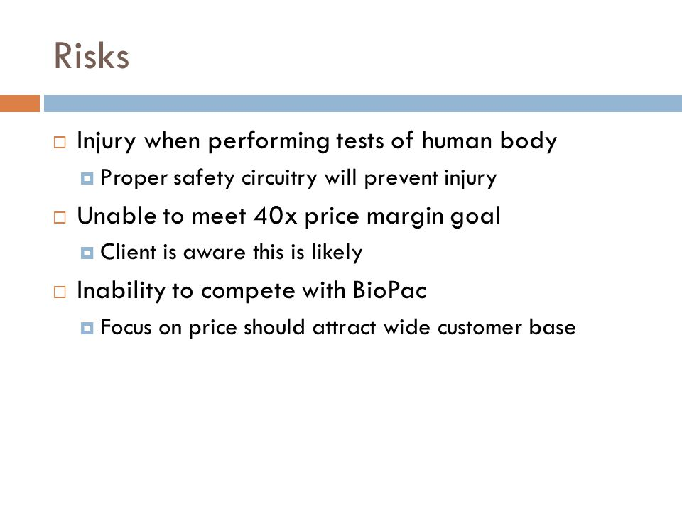 Risks Injury when performing tests of human body