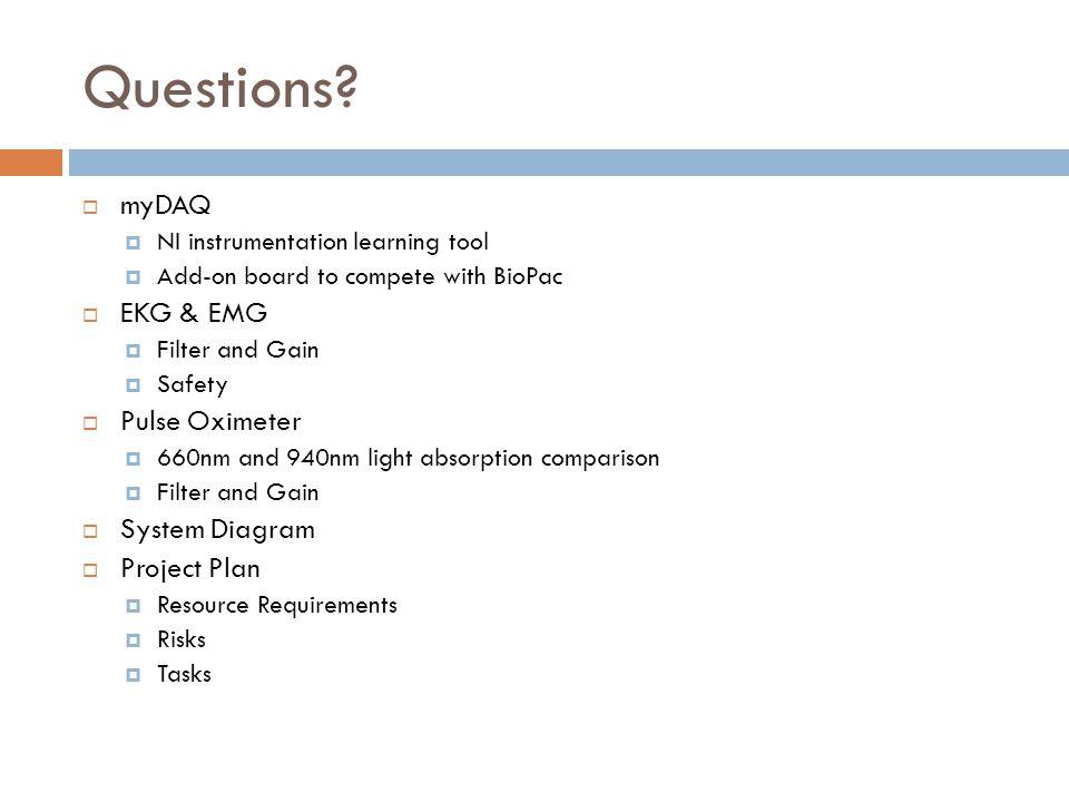 Questions myDAQ EKG & EMG Pulse Oximeter System Diagram Project Plan