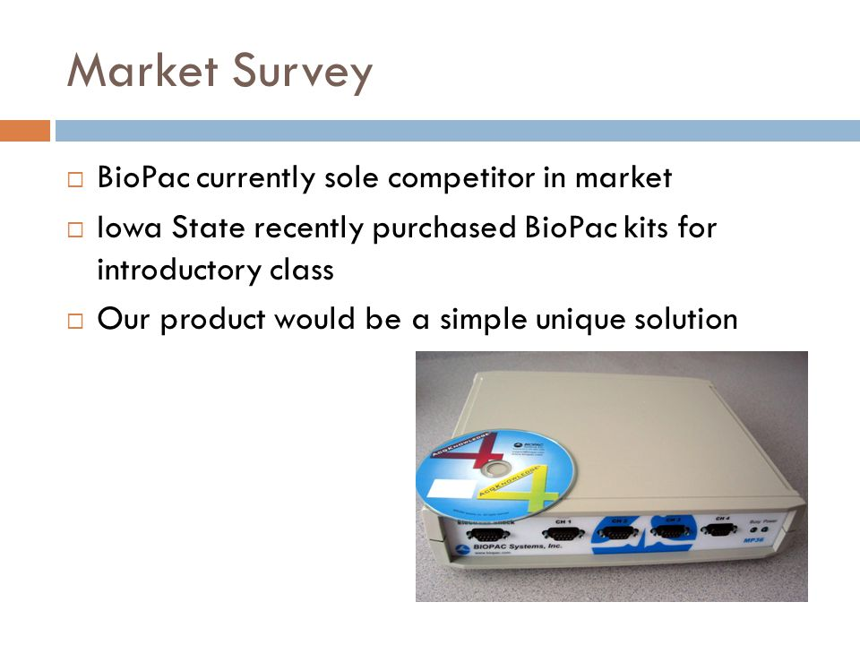 Market Survey BioPac currently sole competitor in market