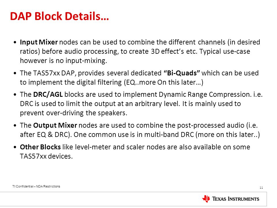DAP Block Details…