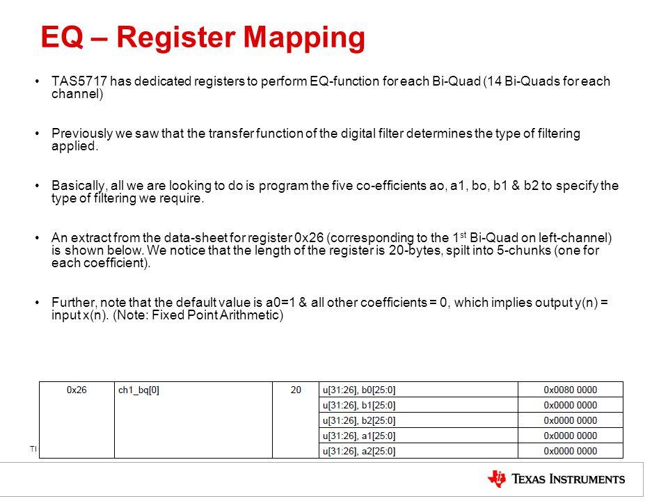EQ – Register Mapping TAS5717 has dedicated registers to perform EQ-function for each Bi-Quad (14 Bi-Quads for each channel)
