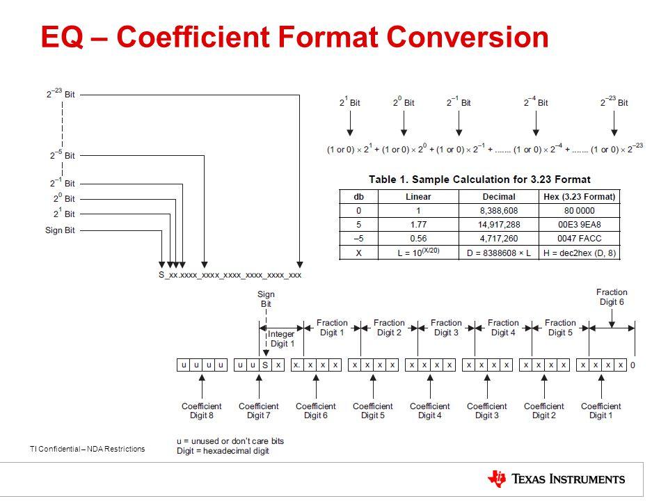 EQ – Coefficient Format Conversion