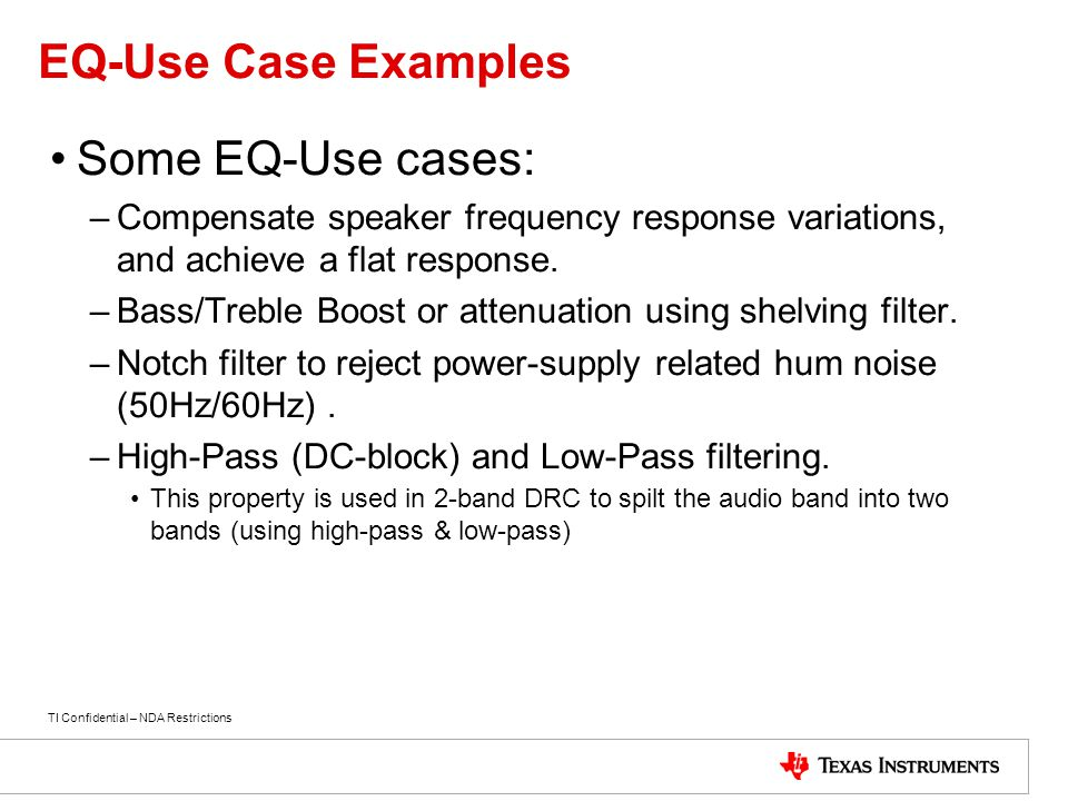 EQ-Use Case Examples Some EQ-Use cases: