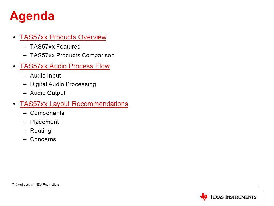 Agenda TAS57xx Products Overview TAS57xx Audio Process Flow