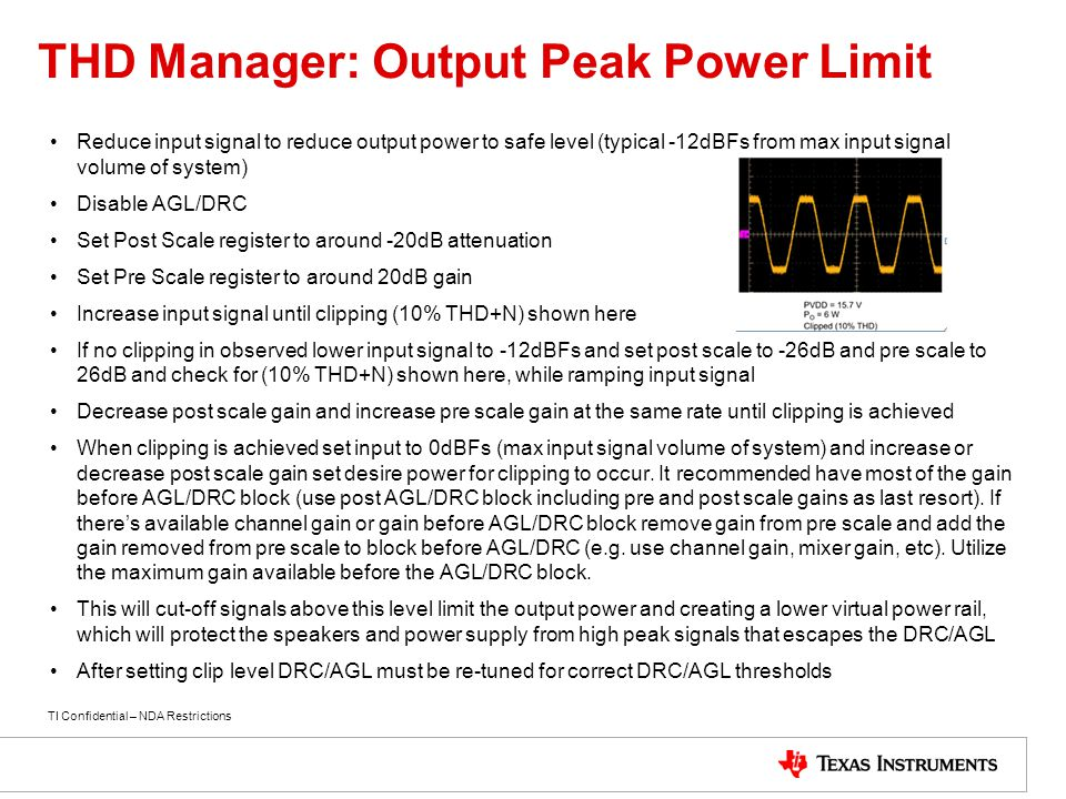 THD Manager: Output Peak Power Limit