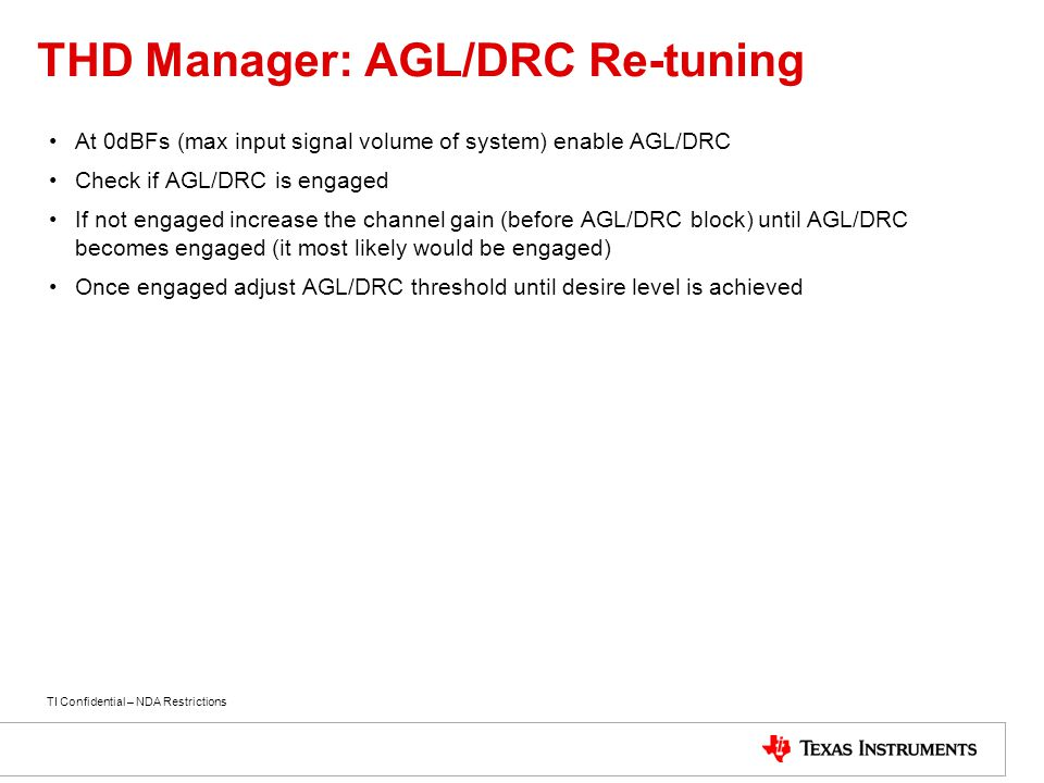 THD Manager: AGL/DRC Re-tuning
