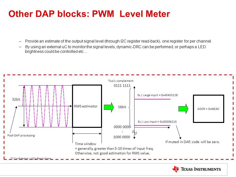 Other DAP blocks: PWM Level Meter