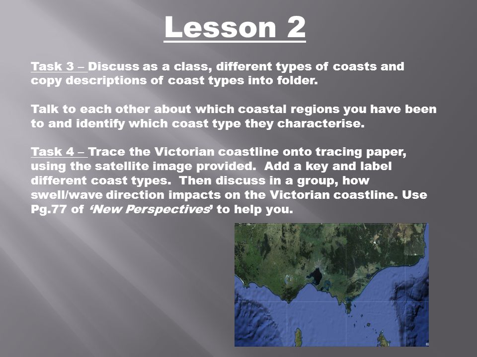 Lesson 2 Task 3 – Discuss as a class, different types of coasts and copy descriptions of coast types into folder.