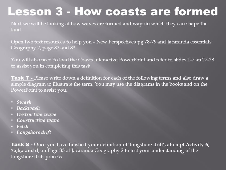 Lesson 3 - How coasts are formed