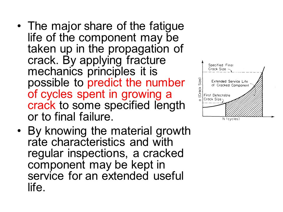 The major share of the fatigue life of the component may be taken up in the propagation of crack. By applying fracture mechanics principles it is possible to predict the number of cycles spent in growing a crack to some specified length or to final failure.