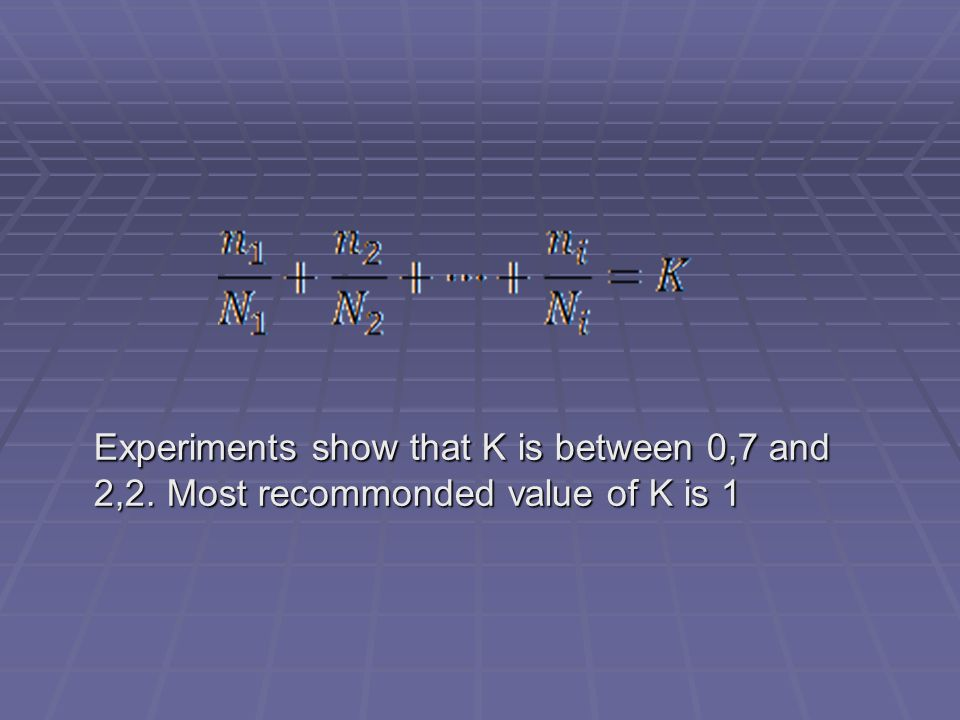 Experiments show that K is between 0,7 and 2,2