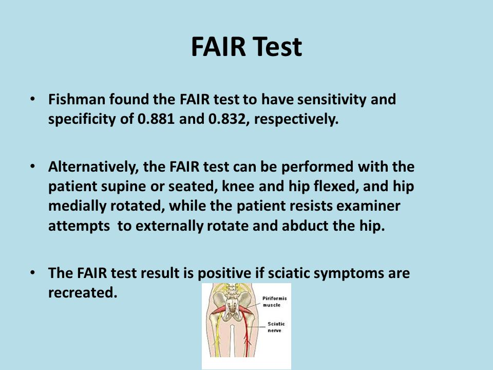 FAIR Test Fishman found the FAIR test to have sensitivity and specificity of 0.881 and 0.832, respectively.