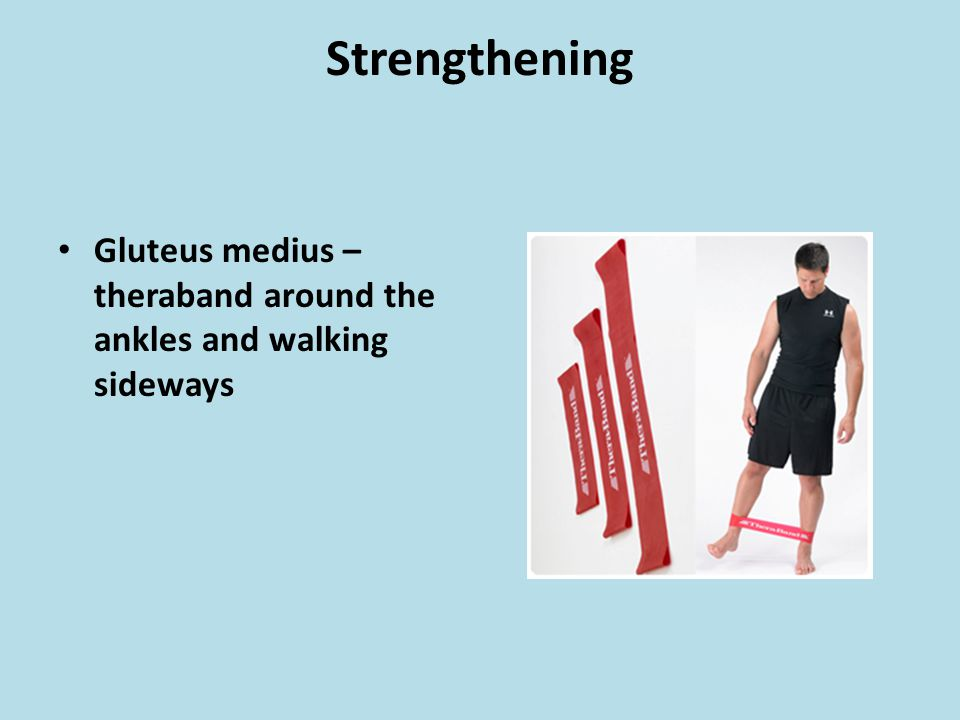 Strengthening Gluteus medius – theraband around the ankles and walking sideways