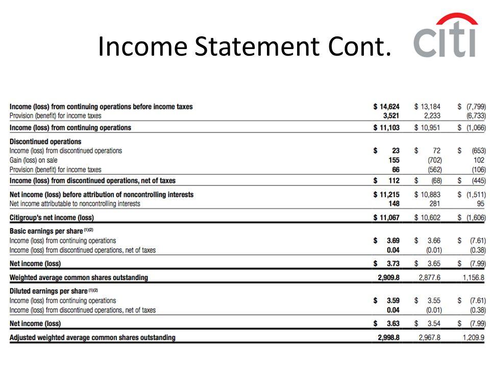 Income Statement Cont.