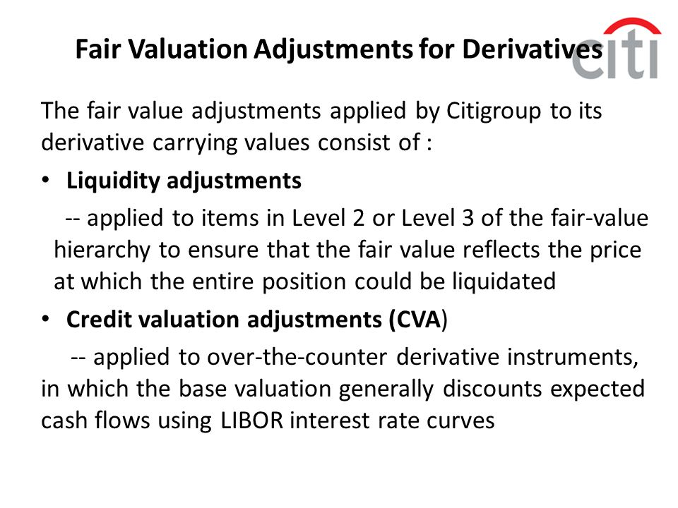 Fair Valuation Adjustments for Derivatives