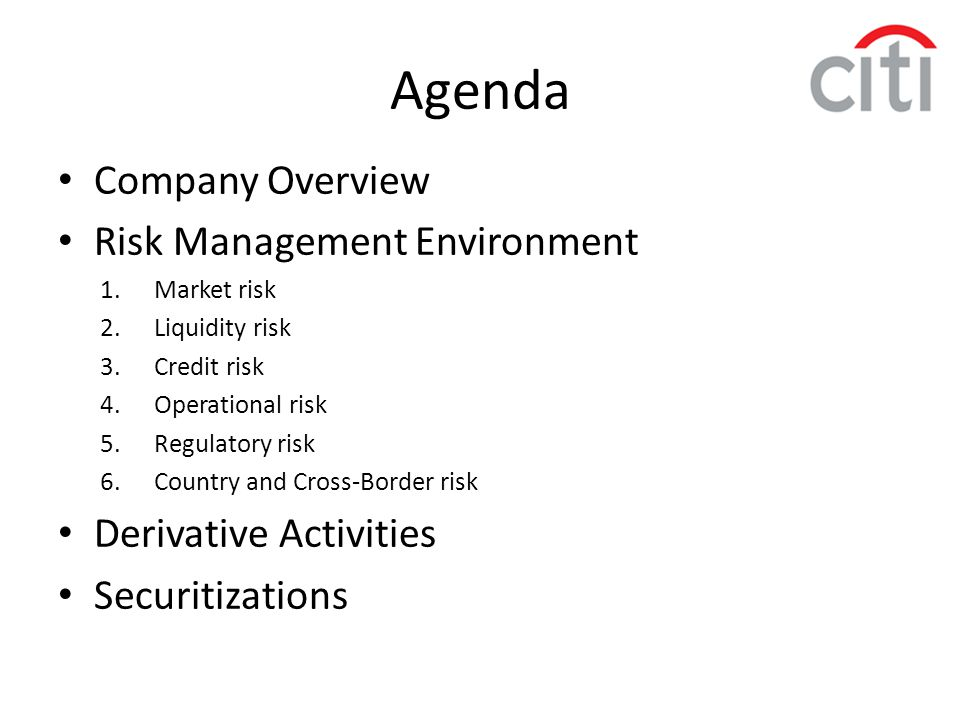 Agenda Company Overview Risk Management Environment