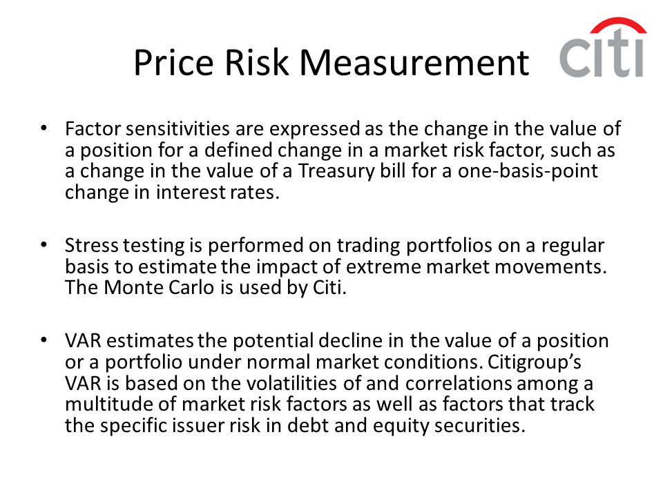 Price Risk Measurement
