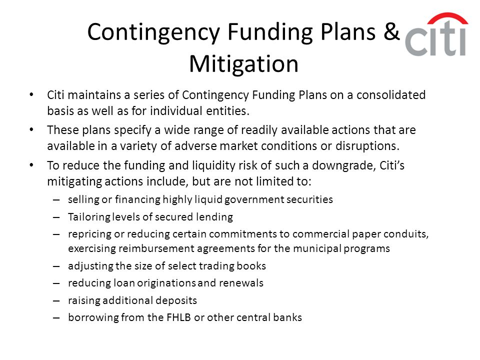 Contingency Funding Plans & Mitigation