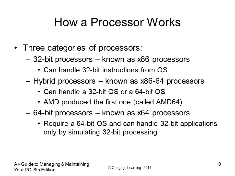 How a Processor Works Three categories of processors: