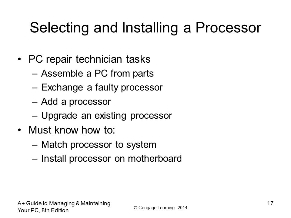Selecting and Installing a Processor