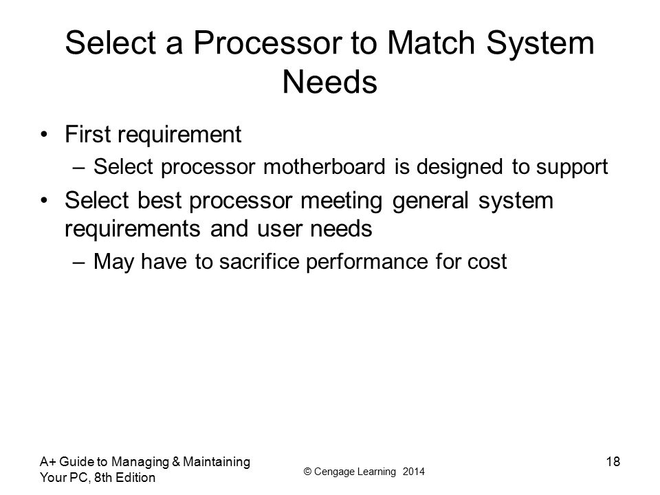 Select a Processor to Match System Needs