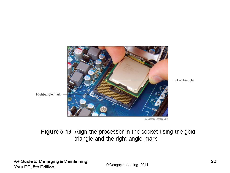 Figure 5-13 Align the processor in the socket using the gold