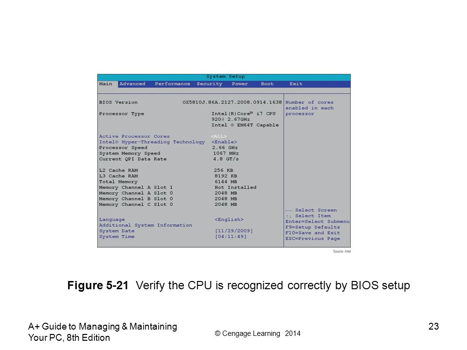 Figure 5-21 Verify the CPU is recognized correctly by BIOS setup