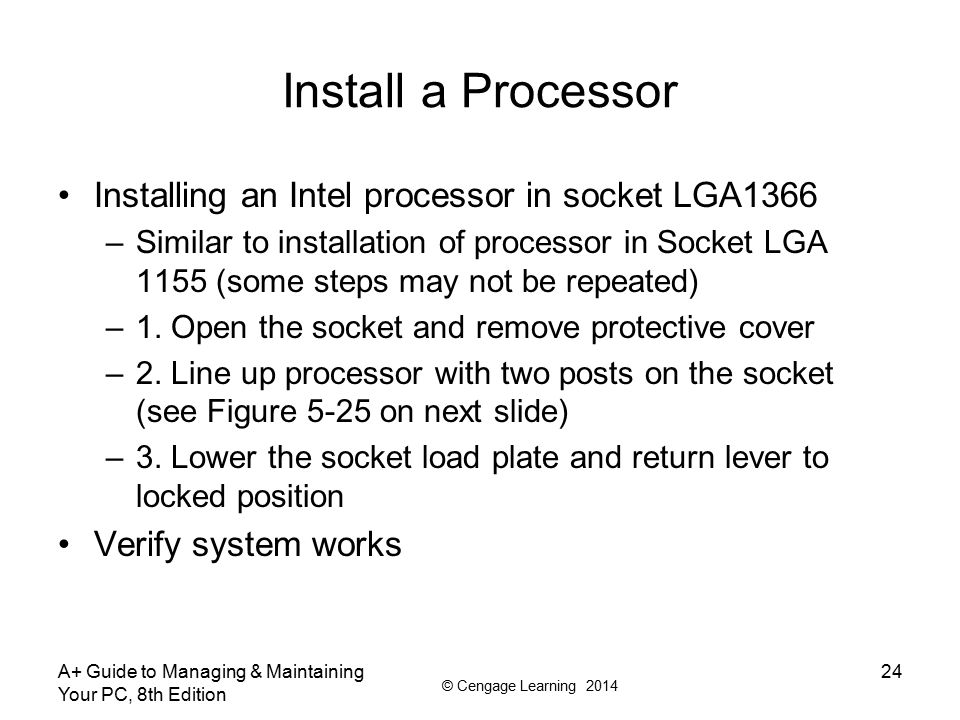 Install a Processor Installing an Intel processor in socket LGA1366