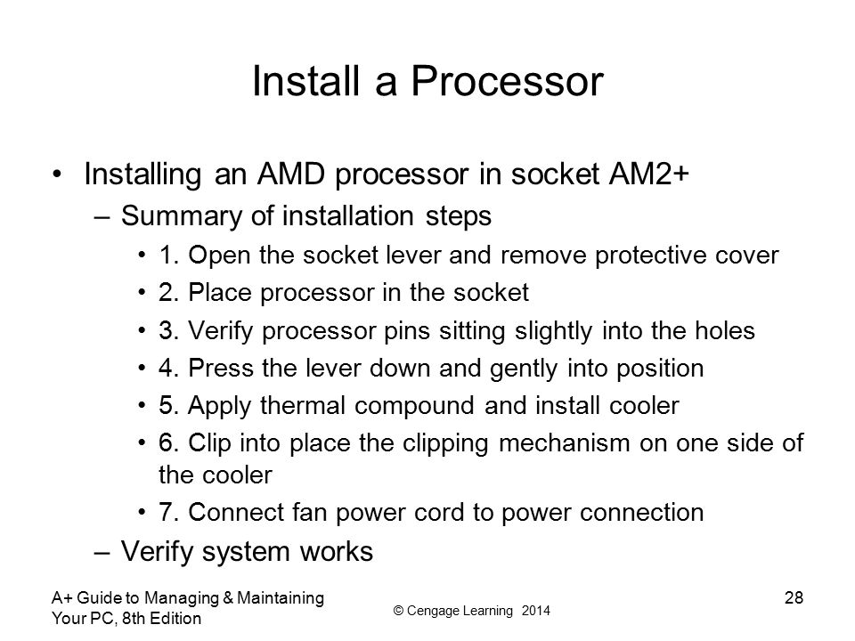 Install a Processor Installing an AMD processor in socket AM2+