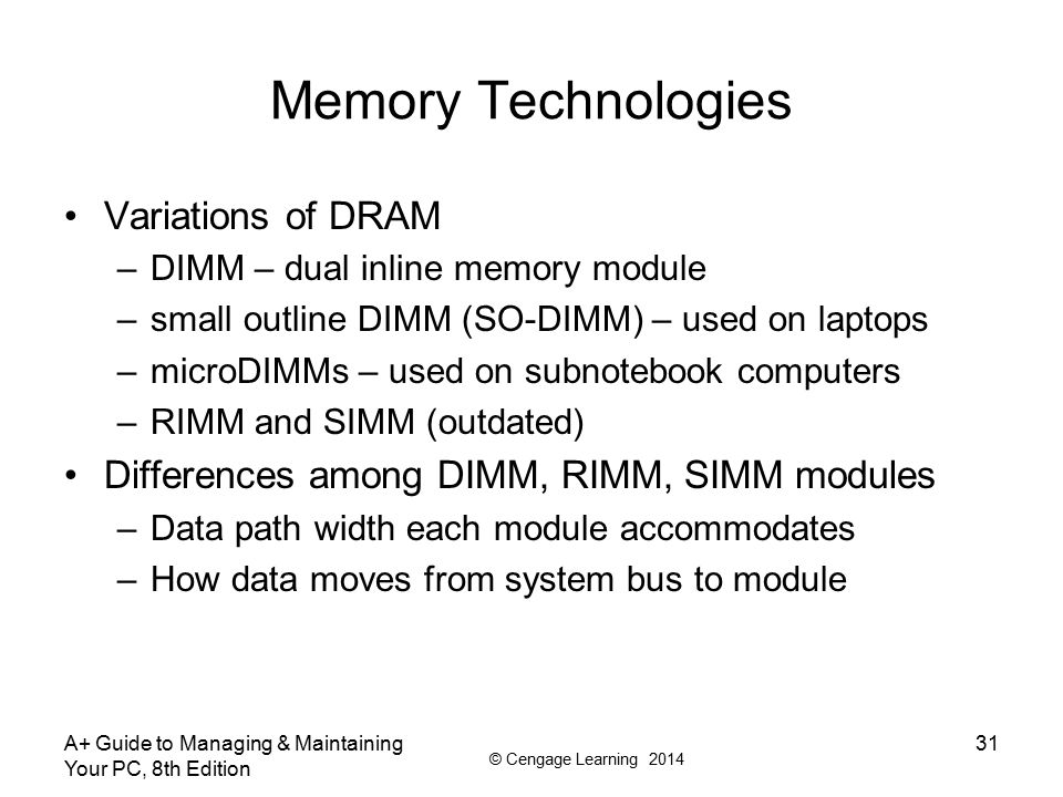Memory Technologies Variations of DRAM