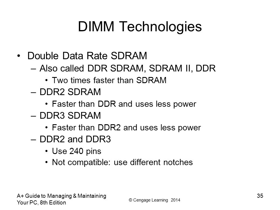 DIMM Technologies Double Data Rate SDRAM