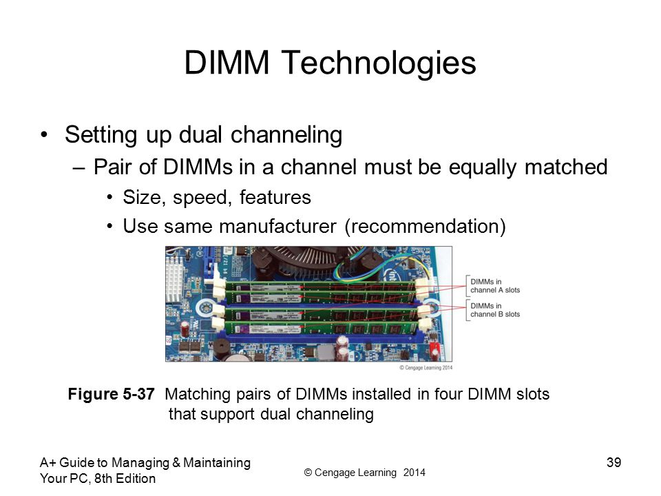 DIMM Technologies Setting up dual channeling