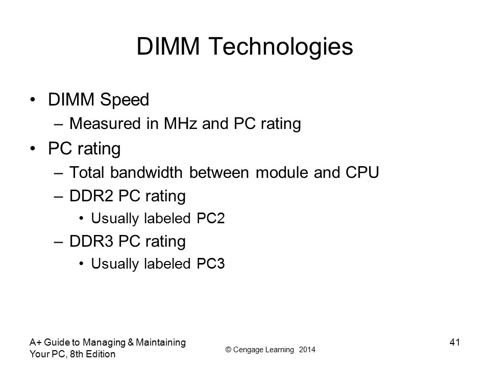 DIMM Technologies DIMM Speed PC rating Measured in MHz and PC rating