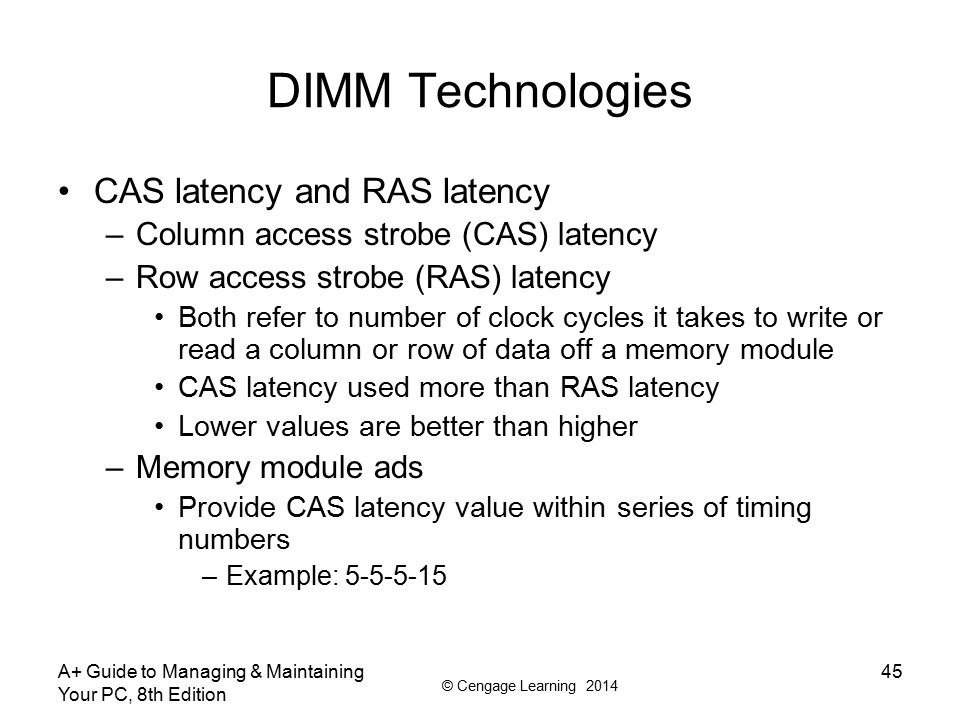DIMM Technologies CAS latency and RAS latency