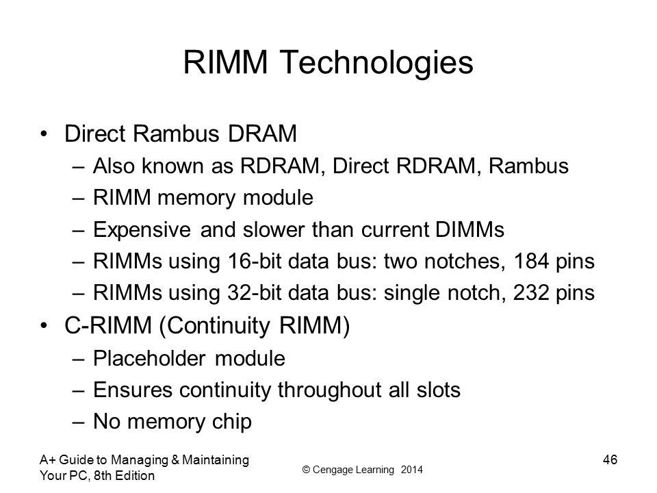 RIMM Technologies Direct Rambus DRAM C-RIMM (Continuity RIMM)