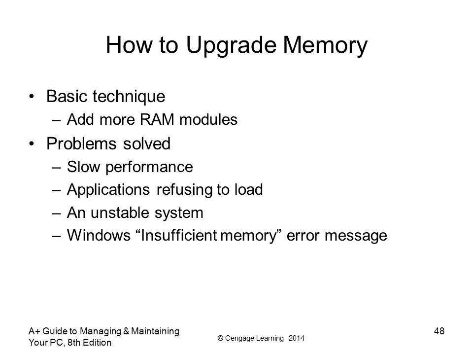 How to Upgrade Memory Basic technique Problems solved