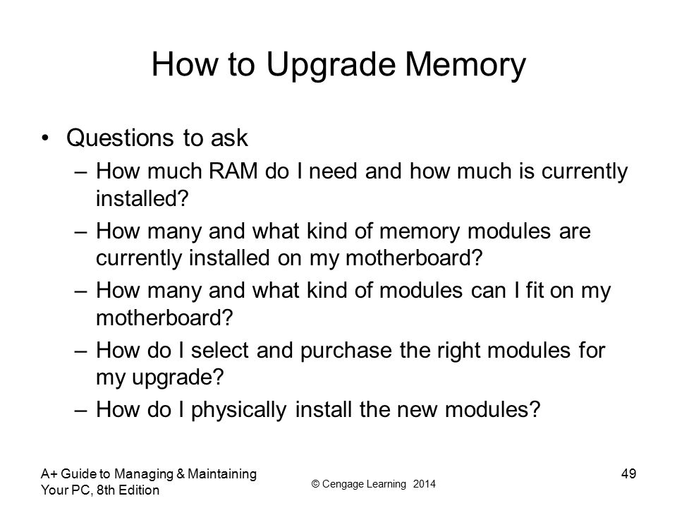 How to Upgrade Memory Questions to ask