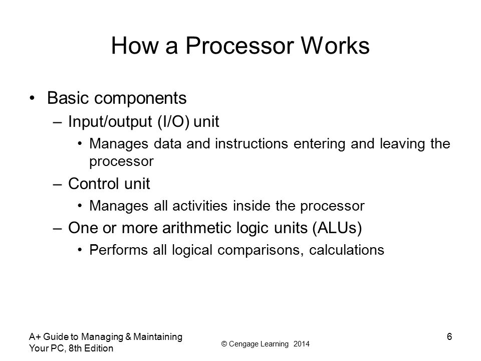 How a Processor Works Basic components Input/output (I/O) unit