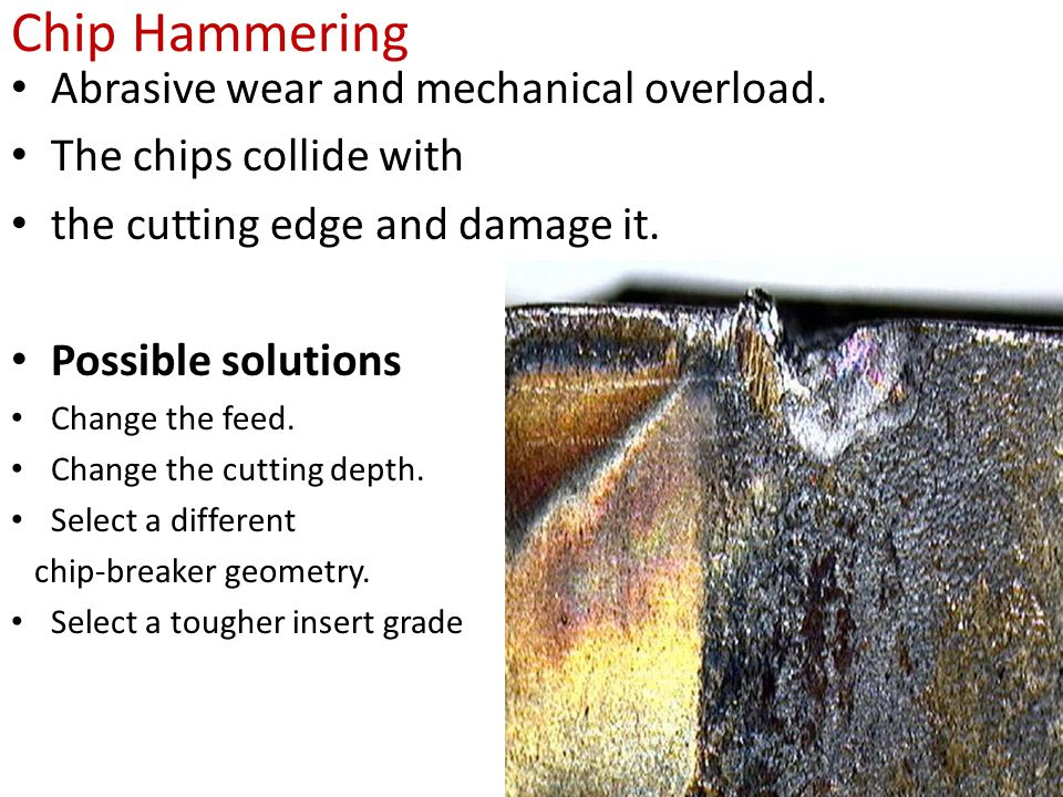 Chip Hammering Abrasive wear and mechanical overload.