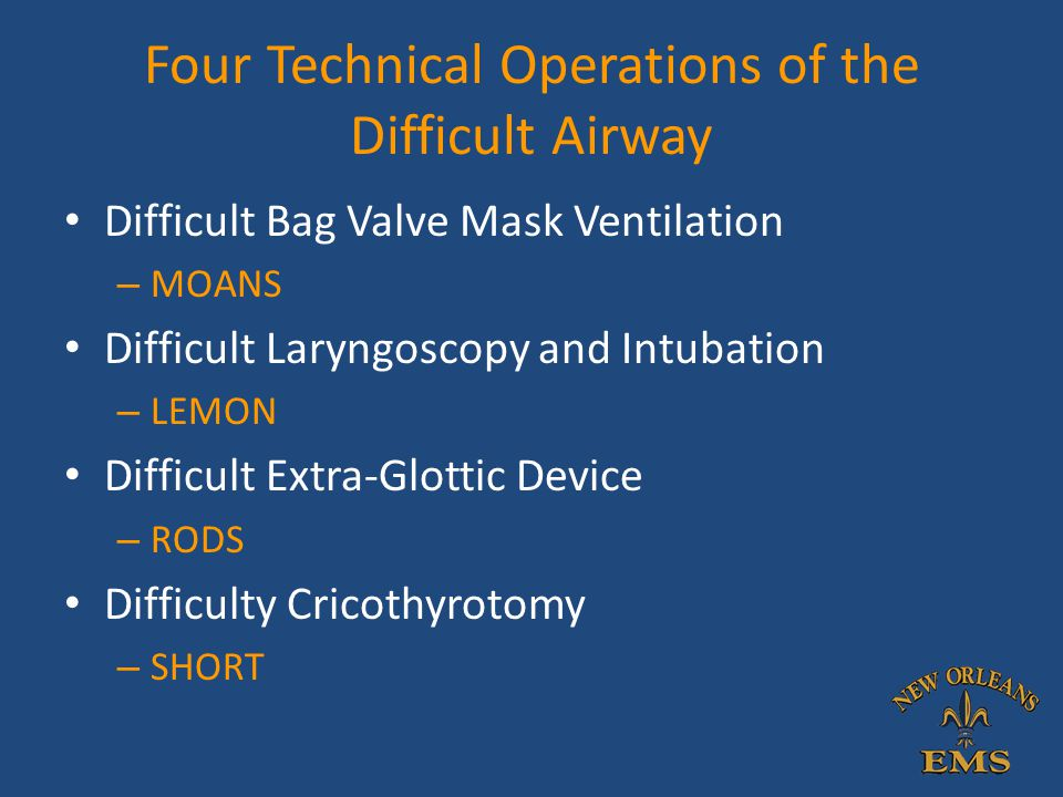 Four Technical Operations of the Difficult Airway