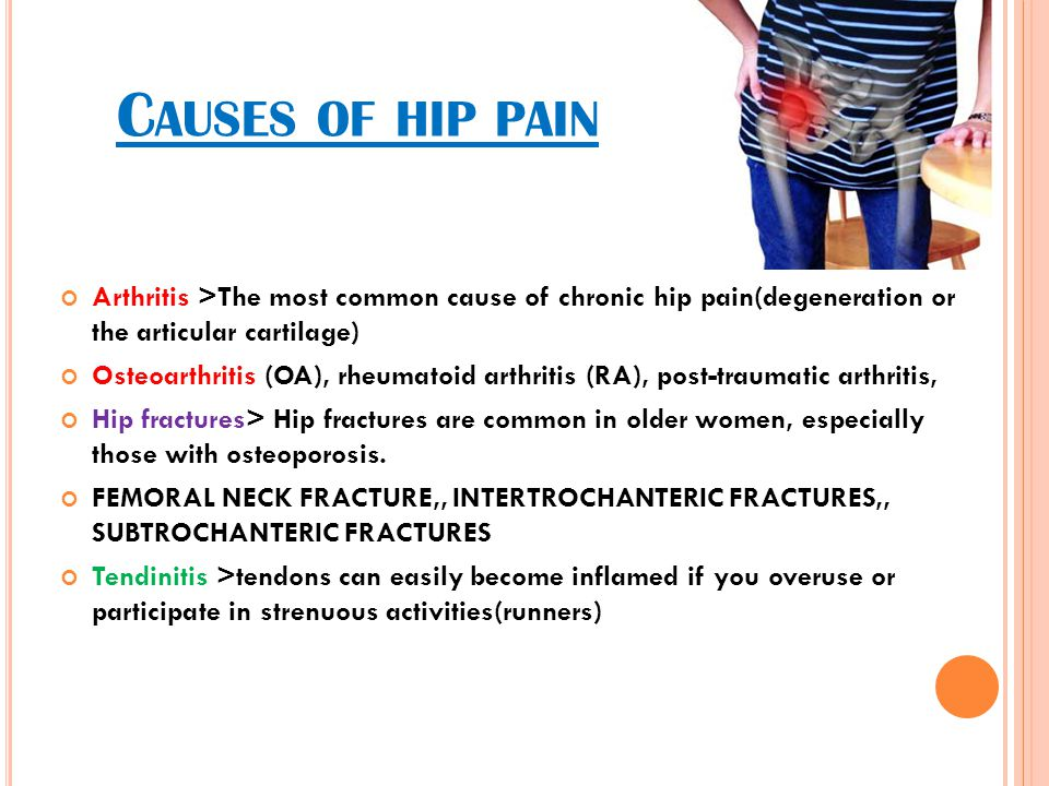Causes of hip pain Arthritis >The most common cause of chronic hip pain(degeneration or the articular cartilage)