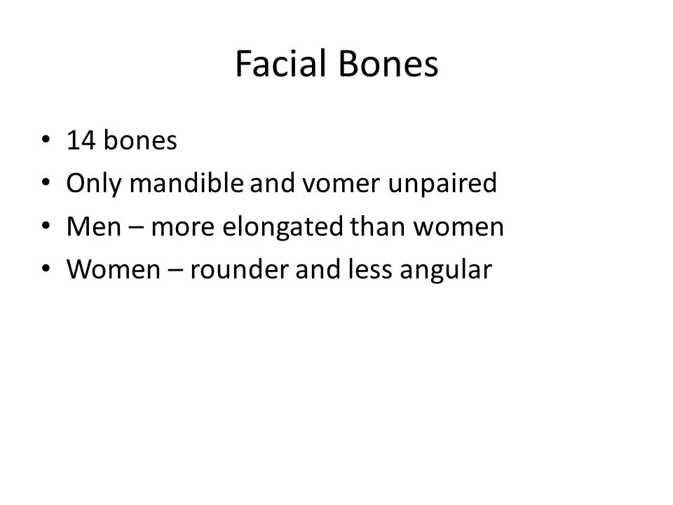 Facial Bones 14 bones Only mandible and vomer unpaired
