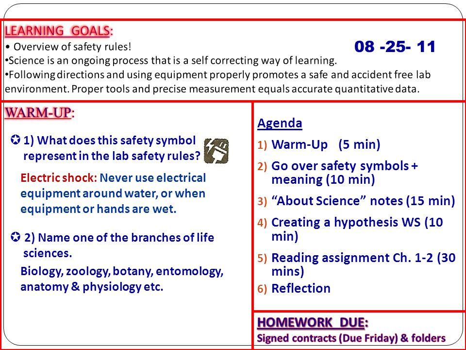 08 -25- 11 LEARNING GOALS: WARM-UP: Agenda Warm-Up (5 min)