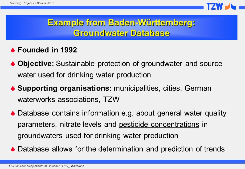 Example from Baden-Württemberg: Groundwater Database