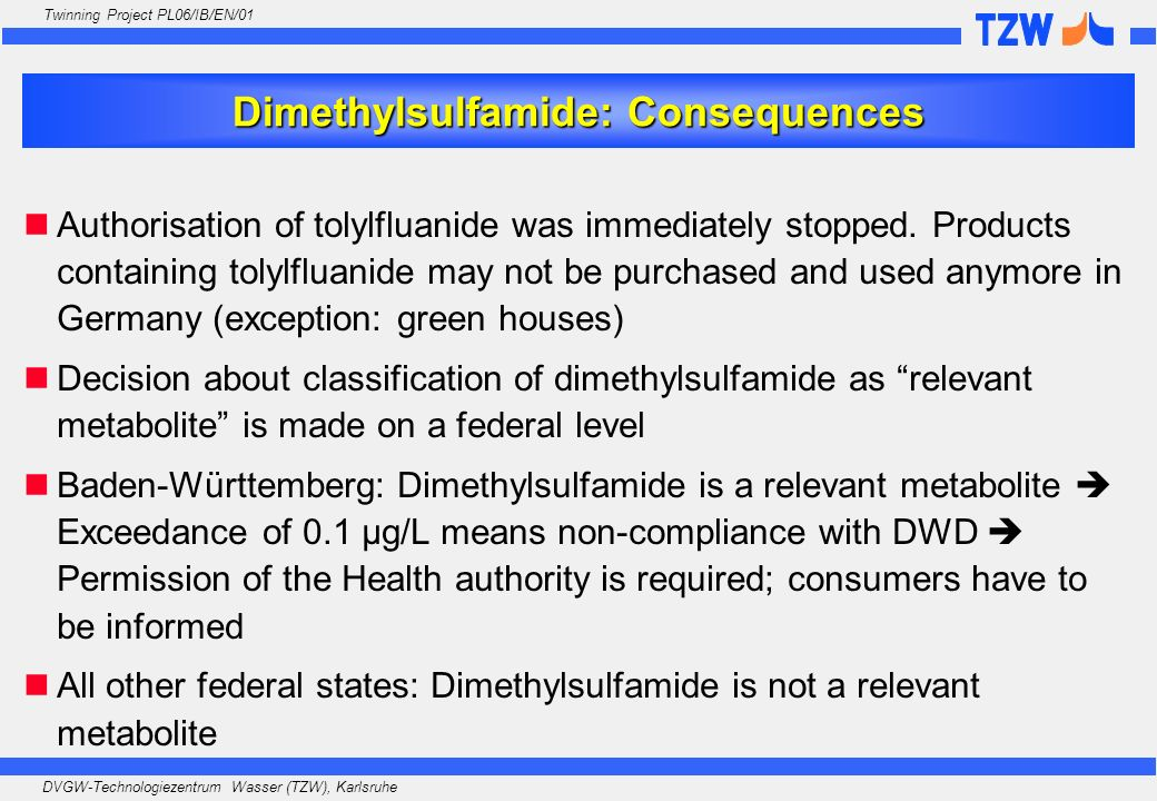 Dimethylsulfamide: Consequences